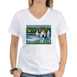 Sailboats / Gr Dane (h) Women's V-Neck T-Shirt