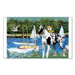Sailboats / Gr Dane (h) Sticker (Rectangle)