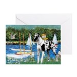 Sailboats / Gr Dane (h) Greeting Card