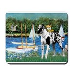 Sailboats / Gr Dane (h) Mousepad
