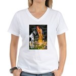Fairies / Gr Dane (h) Women's V-Neck T-Shirt