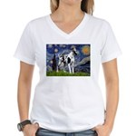 Starry / Gr Dane (h) Women's V-Neck T-Shirt