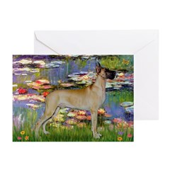 Lilies / Gr Dane (f) Greeting Cards (Pk of 20)