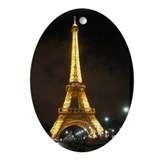 Eiffel Tower at Night Paris France Oval Ornament