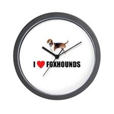 I Love Foxhounds Wall Clock