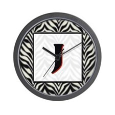 Zebra Monogram J Wall Clock