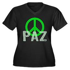 PAZ Peace en Espanol Women's Plus Size V-Neck Dark