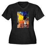 Cafe / GSMD Women's Plus Size V-Neck Dark T-Shirt