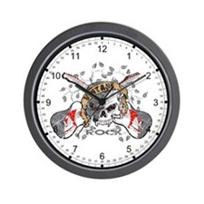 Vintage Rock Skull and Guitars Wall Clock