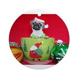 Pug in a Mug Ornament (Round)