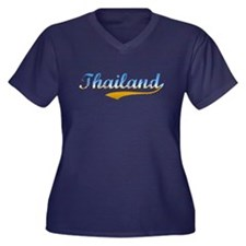 Thailand beach Women's Plus Size V-Neck Dark T-Shi