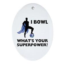 Bowling Superhero Ornament (Oval)