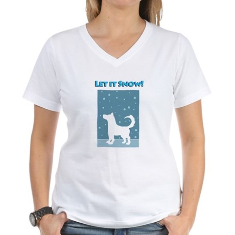 Let It Snow Dog Women's V-Neck T-Shirt