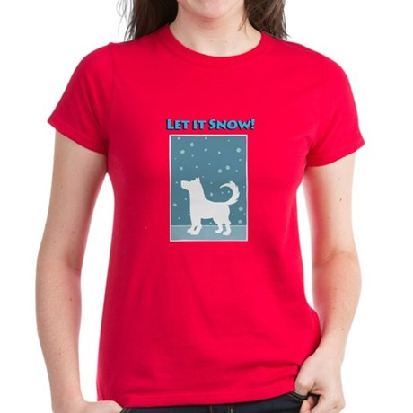 Let It Snow Dog Women's Dark T-Shirt