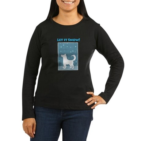 Let It Snow Dog Women's Long Sleeve Dark T-Shirt