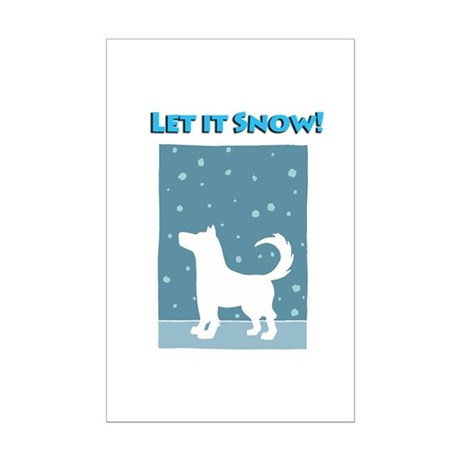 Let It Snow Dog Mini Poster Print