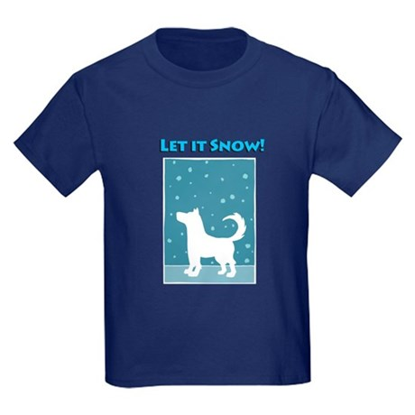 Let It Snow Dog Kids Dark T-Shirt