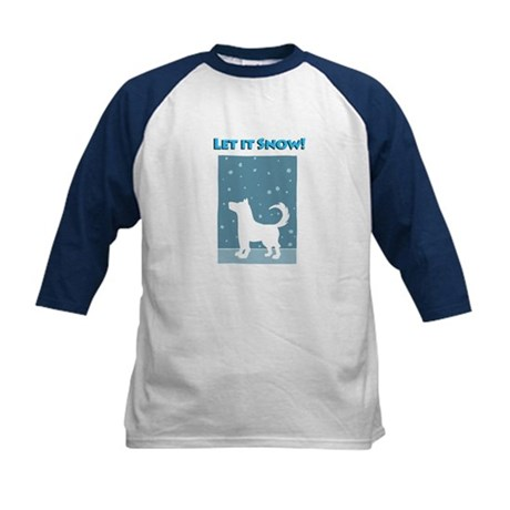 Let It Snow Dog Kids Baseball Jersey