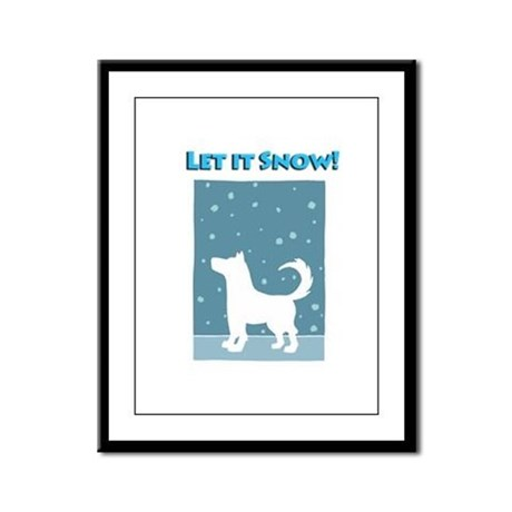 Let It Snow Dog Framed Panel Print