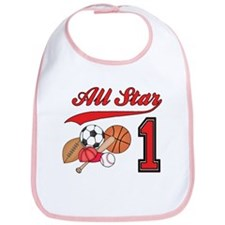 All-Star Sports First Birthday Bib