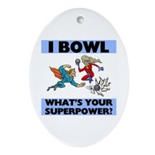 Bowling Superheroes Oval Ornament