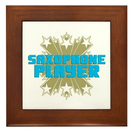 Star Saxophone Framed Tile