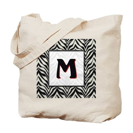 Zebra Monogram M Tote Bag