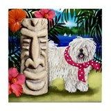 WHITE PULI DOG TIKI POLE Tile Coaster