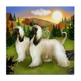 AFGHAN HOUND DOGS FALL DAY Tile Coaster