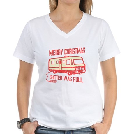 Merry X-mas, Shitter Was Full Womens V-Neck T-Shi