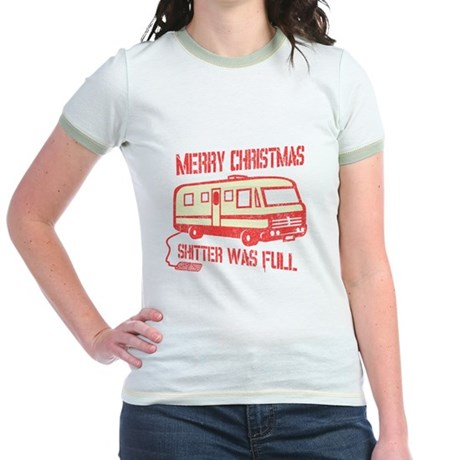 Merry X-mas, Shitter Was Full Jr Ringer T-Shirt