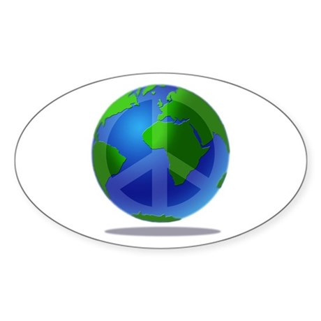Peace Planet Oval Sticker