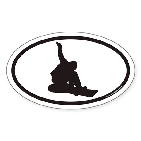 Snowboarding Euro Oval Sticker