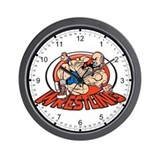 Grappling Wrestlers Wall Clock