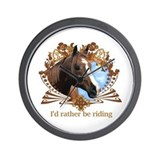 Rather Be Riding Horse Crest Wall Clock