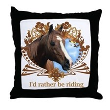 Rather Be Riding Horse Crest Throw Pillow