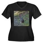 Black Tailed Jackrabbit Women's Plus Size V-Neck D