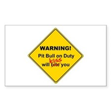 Pit Bull will KISS Rectangle Decal