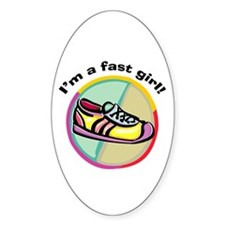 Fast Girl Running Oval Decal