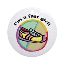 Fast Girl Running Ornament (Round)