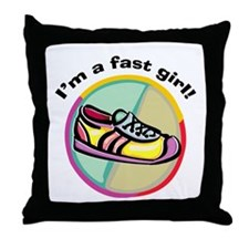 Fast Girl Running Throw Pillow