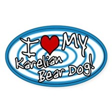 Hypno I Love My Karelian Bear Dog Sticker Blue