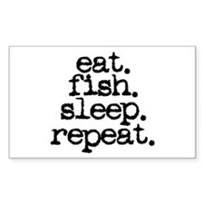 eat. fish. sleep. repeat. Rectangle Decal