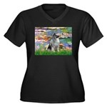 Lilies / Keeshond Women's Plus Size V-Neck Dark T-