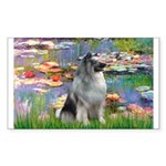 Lilies / Keeshond Sticker (Rectangle)