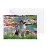 Lilies / Keeshond Greeting Cards (Pk of 10)