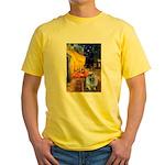 Cafe / Keeshond (F) Yellow T-Shirt