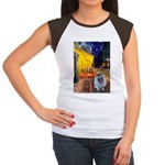 Cafe / Keeshond (F) Women's Cap Sleeve T-Shirt
