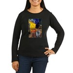 Cafe / Keeshond (F) Women's Long Sleeve Dark T-Shi
