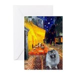 Cafe / Keeshond (F) Greeting Cards (Pk of 20)